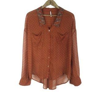 Free People Vintage Floral Sheer Boho Blouse Shirt